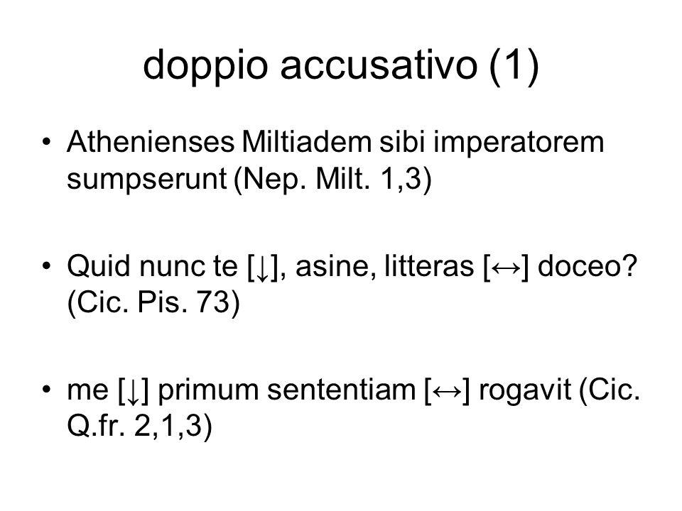doppio accusativo (1) Athenienses Miltiadem sibi imperatorem sumpserunt (Nep. Milt. 1,3) Quid nunc te [↓], asine, litteras [↔] doceo (Cic. Pis. 73)